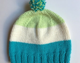 Knit Hat - BABY 6-12 months - Bold Stripe - Blue White Green with pompom - Ready to Ship