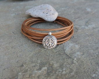 Justhipstuff Leather Pewter Peace Wrap Bracelet / Boho Chic / Natural Leather