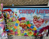 CANDY LAND GAMEBOARD Blank Journal Scrapbook - Art Journal - Notebook - Memory Guest Book - Spiral Bound - Recycled - Upcycled - Acid Free