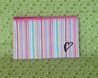 Mini cell zipper pouch. makeup bag, cosmetic bag, purse organizer, accessory storage, children's storage, pink, stripe, heart, pouch, KBD801