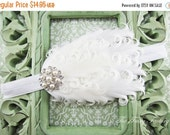 White Feather Headband, White Curled Feather Headband w/ Pearls & Rhinestones, Baptism, Christening, Wedding, Baby Child Girls Headband