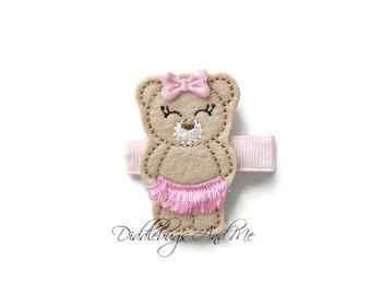 Ballerina Bear Hair Clip, Dancing Bear Hair Clip, Girls Bear Hair Clip, Ballet Hair Clip, Dance Hair Clip, Girls Ballet Clip, Bear In Tutu