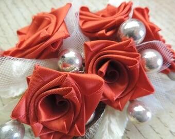 vintage Christmas corsage 1950s ribbon flower bouquet mercury glass ornament millinery flowers
