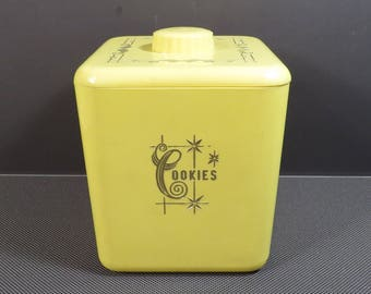 Yellow Plastic Cookie Jar Vintage 1950s Cols Plastic Products Size 113 Kitschy Kitchen Mid Century Decor