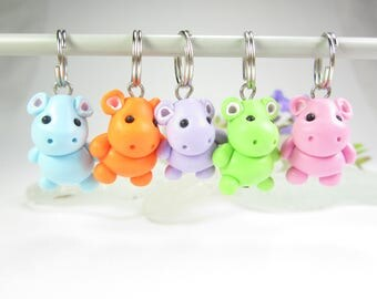 Hippo Stitch Markers hippopotamus animal polymer clay charm knitting accessories hippo gifts for knitters colorful womens gifts cute knit