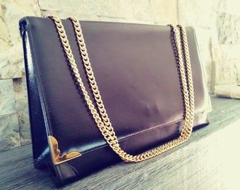 Vintage 1960s chain handle black hand bag kelly bag