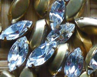 Vintage 17 Crystal NAVETTE Rhinestones Gold Foil Back BRASS 15 x 7 MM