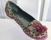 Reproduction Vintage Style Leather Leopard Print Tassel Loafers Size 8 US