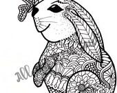 Adult Coloring Page - Bunny & Butterfly - Instant Download - Zentangle - Doodle Illustration - DailyDoodler - Unique Rabbit Illustration