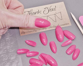 Long Finger Nail Art Manicure Kit Press On Nails Fake Arcylic Pedicure Summer Finger File Cuticle Tool Adhesive Rose Pink