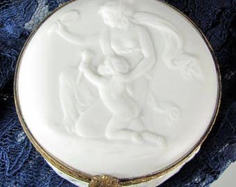 Vtg LIMOGES LADY CHERUB Porcelain Jewelry Casket Parian Ware White Bisque Ormolu