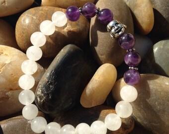 Buddha Face Mala Bracelet /  White Quartz / Amethyst