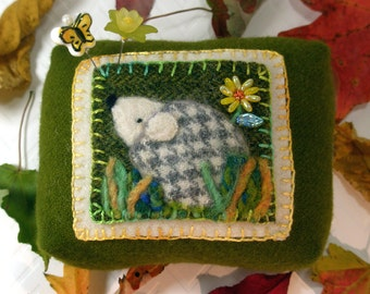 Pincushion, Hedgehog, Large Needle Felted Wool Pincushion- Ready to Ship