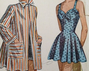40 bust Simplicity 2441 Vintage 40s 1940s Bathing Swim Suit Pattern 40 Bust Plus Size Uncut FF pinup pin up rockabilly skirted cover up rare