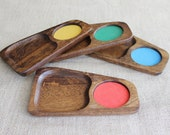 Mid-Century Modern Wooden Snack Trays | Vintage Snack Sets | Imperial Hand Carved Wood Trays | Mod Home Decor