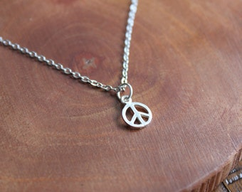 Peace Necklace, Dainty Silver Necklace, Peace Sign Charm Necklace, Delicate Jewelry, Layering Necklace