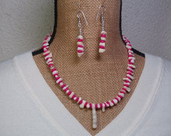Natural White Ocean Coral Stem Slices, Hot Pink Rondelle Spacers, 925 Silver Necklace and Earrings