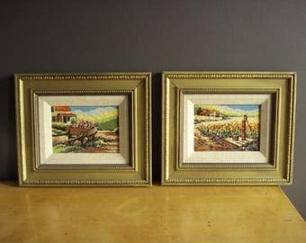 Spring in the Country - Crossstitch Needlework Pictures - Pair of Vintage Framed Cross Stitch Landscapes