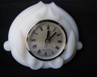 Desk Clock White Milk Glass Vintage Alarm Clock