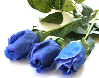 3 Long Stem Gorgeous Real Touch Royal or Navy Blue Rose Buds- Artificial Flowers, Silk Roses