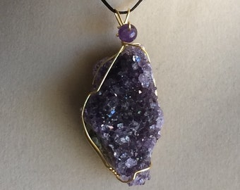Wire Wrapped Amethyst Cluster Pendant