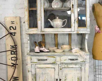 Painted Cottage Chic Shabby Antique Texas China Cabinet CC908