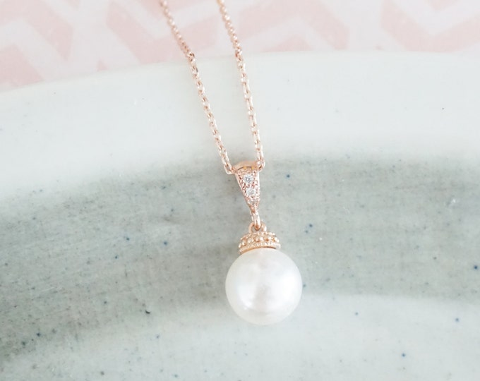 kylee - Simple Pearl Drop Necklace, Swarovski,  Bridal, Bridesmaids, jewelry, fairy tale, wedding,