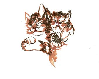 minimalist ink print: Kitten Nap