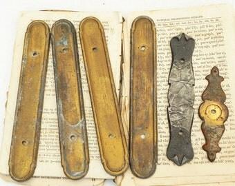 6 Salvaged Vintage Backplates for Drawer Dresser Cabinet Knob Pull Handles Assemblage Altered Art Steampunk Supply