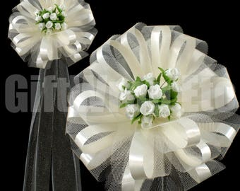 """6 Large 9"""" Ivory Assembled Pew Bows with Mini Roses Tulle Wedding Church Decorations"""