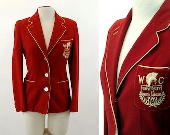 Vintage university blazer red wool gold University of North Carolina Greensboro 1959  Robert Rollins Blazers Size M