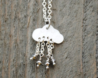 You make me happy when skies are gray - Rain Cloud Necklace - Friendship Necklace - you are my sunshine