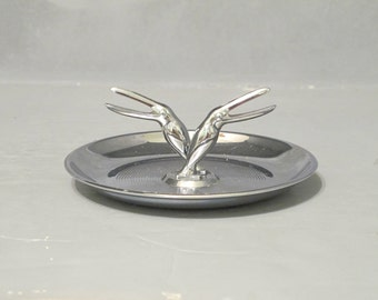 Vintage Chromed Metal Jewelry Dish / 50s Mid Century Modern 2 Birds Ring Holder Decorative Vanity Tray Trinket Dish Key Holder Made in USA