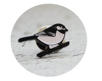 Chickadee Bird Enamel Pin, Lapel Pin, Soft Enamel Pin, Bird Pin,  Black and White, Pin Game, Tiny Chubby Bird, Gift For Birder, Bird Lover