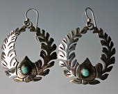 Cuernavaca Mexico Sterling Turquoise Large Wreath Earrings