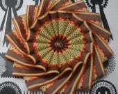 Reserved for Linda Only - Brown, Orange and Yellow Wheel Cocarde Applique