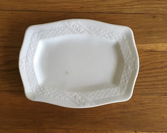 Antique Meakin Basketweave Ironstone Platter