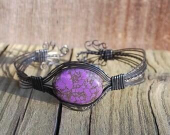Purple and Copper Wire Bangle Bracelet