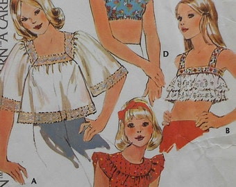 Vintage Crop Top Sewing Pattern McCalls 4041 Sizes 10-12