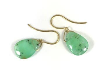 Chrysoprase 18k Earring Teardrop Dangle