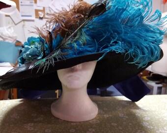 Wide brim Victorian/Edwardian Ladies Ostrich Feather Festooned Straw Hat