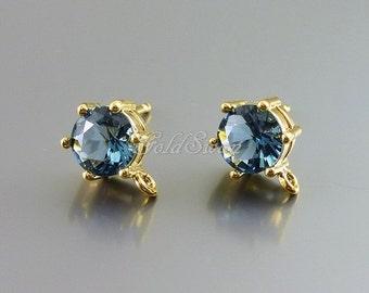 2 pcs faceted blue sapphire round 7mm glass stone earrings, post earrings, wedding / bridal earrings 5139G-BS