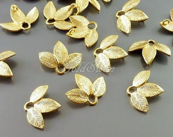 4 Matte gold leaf connectors / leaf links for linking glass beads, charms, gemstones, stones, nature inspired 1516-MG