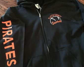Baseball zip up hoodie