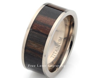 Titanium Wedding Ring  African BlackWood, Mens Ring, Titanium Ring, Mens Wedding Band, Wooden Ting, Mens Titanium Wedding Band,