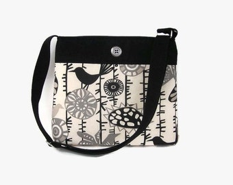 Black Cream Crossbody Bag - Black Messenger Purse - Fabric Cross Body Handbag - Adjustable Strap - Medium Hobo - Shoulder Bag - Black Purse
