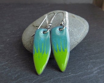 Blue and green enamel earrings, enamel on copper, bullet shape, copper enamel jewelry, enamel jewelry, colourful earrings, kiln fired enamel