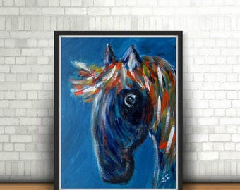 Original acrylic painting with blue horse, wall decor, in childrens' room, impressionism, bright painting, painting on canvas, gift