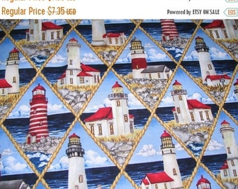 Nautical Fabric--Lighthouses--Hard Find--Vibrant--Gorgeous Fabric -- 40-70% off Patterns n Books SALE