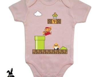 video game - retro games - summer baby bodysuit - baby pink bodysuit - short sleeves - mario